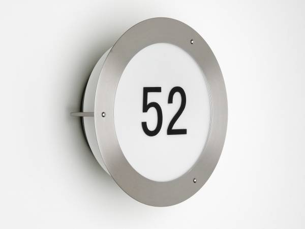 Moderne Wandleuchte mit Hausnummer aus , 1x E27 max. 60W, Metall / Glas, edelstahl