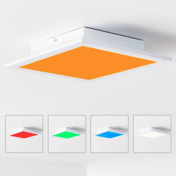 LED Panel Deckenleuchte, RGB Farbwechsel per Fernbedienung steuerbar, 30x30cm, 18 Watt,1850 Lumen, 2700-6500 Kelvin aus Metall / Kunststoff in weiß
