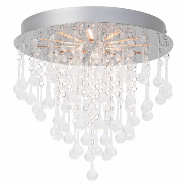 LED Deckenleuchte mit dekorativen Pendeln, Ø 33cm, 15W LED integriert, 900 Lumen, 3000K warmweiß, Metall / Kunststoff, chrom / transparent