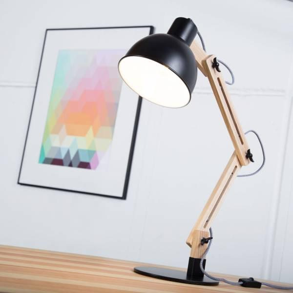 Moderne Tischleuchte im Nordic Design mit Textilkabel und Gestell aus Holz, 1x E14 max. 40W, Metall / Holz, holz hell / schwarz