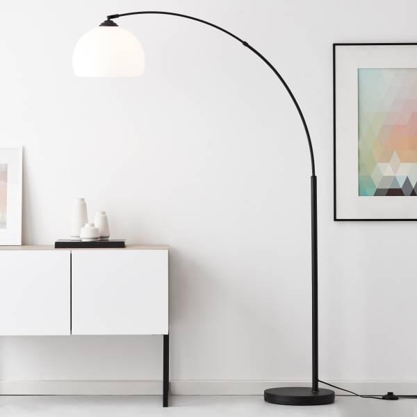 Lightbox Bogenlampe - bis 166 cm höhenverstellbare Bogenstandleuchte, Ø 30 cm, Fußschalter, E27 Fassung für max. 60 Watt - Metall/Kunststoff