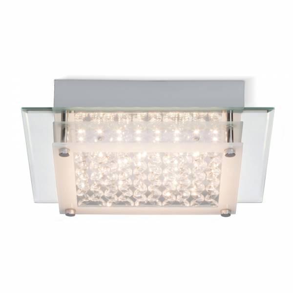 LED 12W Deckenleuchte mit dekorativer Glasabdeckung, 1200 Lumen, 3000K, 25cm x 25cm, Metall / Glas, chrom / transparent