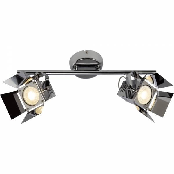 LED Deckenleuchte, Spotbalken im Movie Design, 2x GU10 LED inkl., 230 Lumen, 3000K warmweiß, Metall, chrom