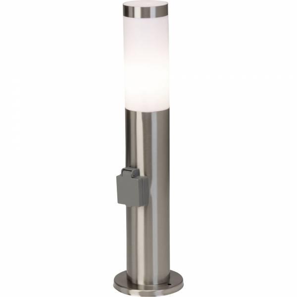 Moderne Außensockelleuchte mit Steckdose, IP44, 1x E27 max. 20W, Edelstahl / Kunststoff, edelstahl