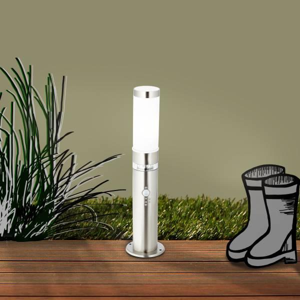 Außensockelleuchte mit Bewegungsmelder, 1x E27 max. 60W, Metall / Kunststoff, edelstahl