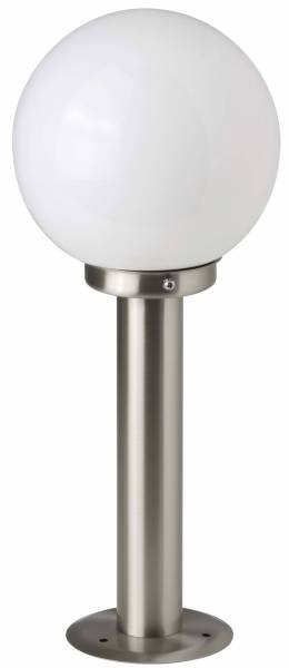 LED Außensockelleuchte Wegeleuchte, 1x 5.8W LED E27 inkl., 1x 630 Lumen, 2700K warmweiß, Edelstahl / Glas, edelstahl