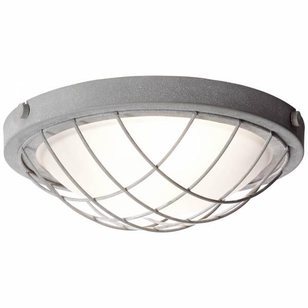 Deckenleuchte 34cm, 2x E27 max. 25W, , Metall / Glas, grau Beton