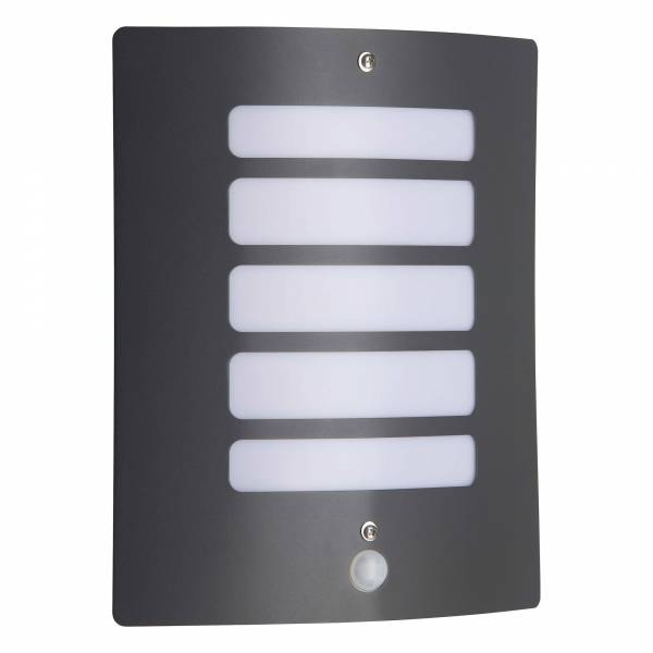 Außenwandleuchte mit Bewegungsmelder, 1x E27 max. 60W, Metall / Kunststoff, anthrazit