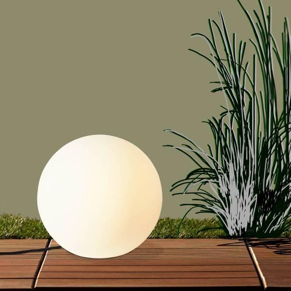 Lightbox hochwertige außen-Lichtkugel Ø45cm, 1x E27 max. 60 Watt, Kunststoff, weiß
