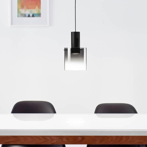 Lightbox LED Pendelleuchte 1-flammig, 8 Watt, Metall / Glas, schwarz / rauchglas