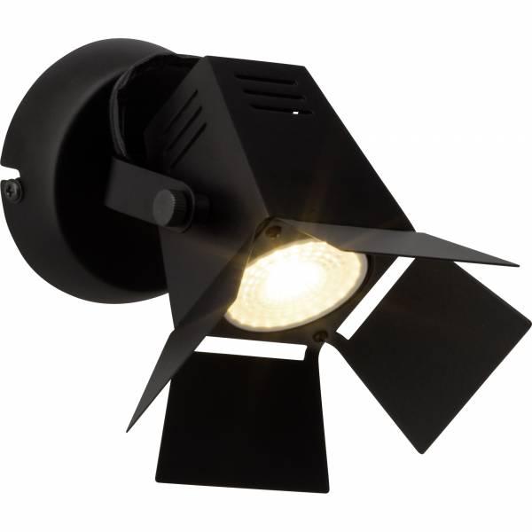 Moderner LED Wandspot, im besonderen Strahler Design, 1x 5W GU10 LED inkl., 345 Lumen, 2700K warmweiß, Metall, schwarz matt