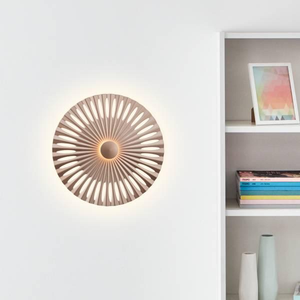 Dekorative LED Wandleuchte, Ø32cm, 12 Watt, 1282 Lumen, 3000 Kelvin, Aluminium / Kunststoff, braun / Kaffee