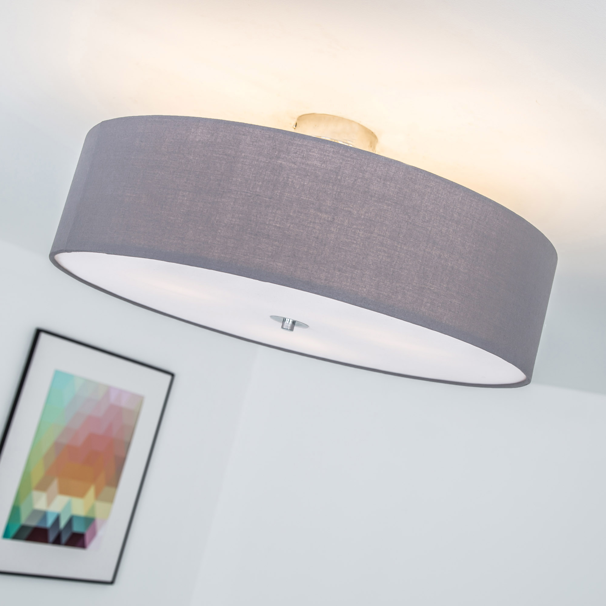 moderne deckenleuchte lampemit textilschirm 3 flammig. Black Bedroom Furniture Sets. Home Design Ideas