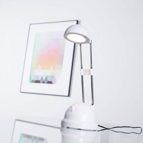 LED 8,3W Schreibtischleuchte mit Teleskophals 20 - 44 cm Höhe, 600 Lumen, 2700K warmweiß, Metall / Kunststoff, weiß
