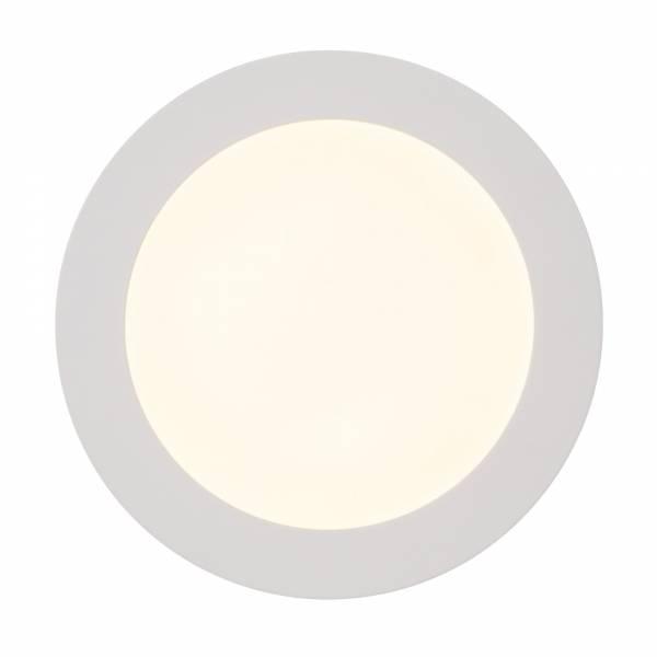 Moderne 12W LED Einbauleuchte Panel im schlichten Design rund Ø 17cm, 1.080 Lumen, 3000K, Metall / Kunststoff, weiß