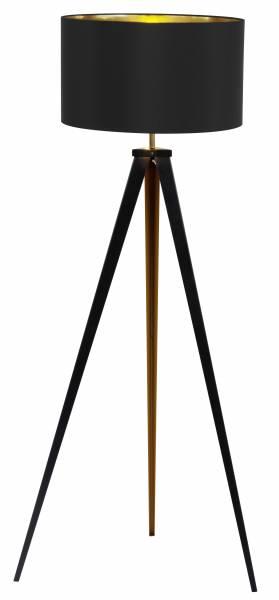 Standleuchte, dreibeinig, 1x E27 max. 60W, , Metall / Textil, schwarz / gold