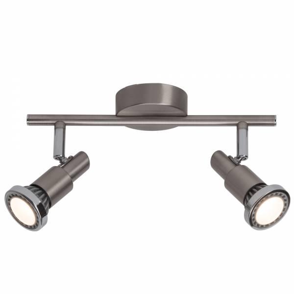 Moderne LED Deckenleuchte / Spotbalken, 2x GU10 3W LED inkl., 2x 230 Lumen, 3000K warmweiß, Metall, eisen / chrom / weiß