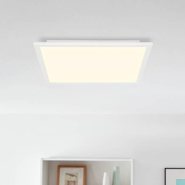 LED Panel Deckenleuchte, dimmbar mit Fernbedienung, 60x60cm, 42 Watt, 3600 Lumen, 2700-6500 Kelvin aus Metall / Kunststoff in weiß