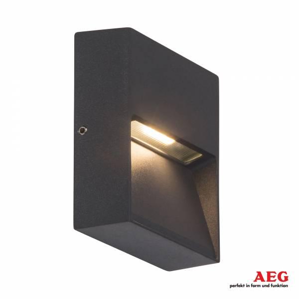 LED Außenwandaufbauleuchte, 1x 3W LED integriert, 1x 180 Lumen, 3000K warmweiß, Aluminium / Glas, anthrazit