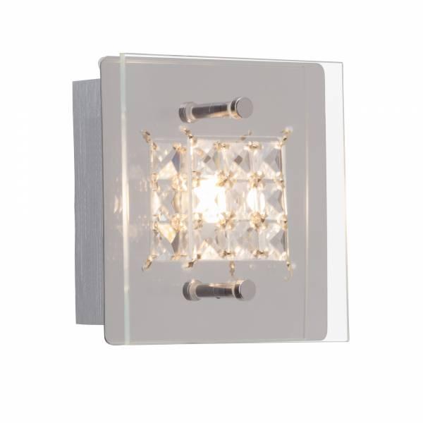 LED Wand- und Deckenleuchte mit Kristallapplikation, 1x 5W, 420 Lumen, 3000K warmweiß, Metall / Glas, chrom / transparent