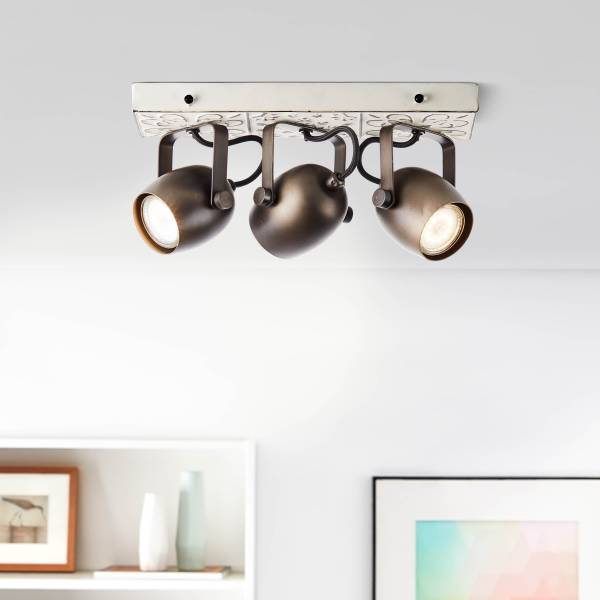Lightbox LED Deckenstrahler dimmbar, 3-flammig, LED Spotbalken schwenkbar, 3x GU10 für max. 6 Watt - aus Metall mit Holzsockel