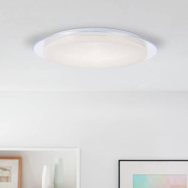 LED Deckenleuchte, per Fernbedienung dimmbar, Ø 45cm, 40 Watt, inkl. Sternenlichtdekor, 3000-6000 Kelvin, Metall/Kunststoff, Weiß