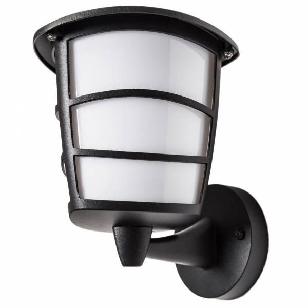 Klassische LED Außenwandleuchte, stehend, im modernen Design, 1x 7W GX53 LED inkl., 550 Lumen, 3000K warmweiß, Metall / Kunststoff, schwarz / weiß