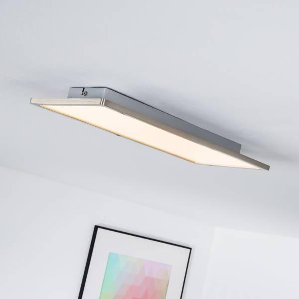 LED Panel für Deckenaufbau, dimmbar, 45 x 20 cm eckig, 1x 20W LED integriert, 2000 Lumen, 3000K warmweiß, Metall / Kunststoff, eisen / weiß