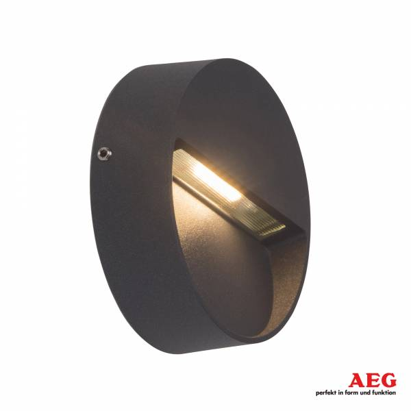 AEG 3W LED Außenwandleuchte Front, Ø 10 cm, 180 Lumen, 3000K warmweiß, Aluminium / Glas, anthrazit