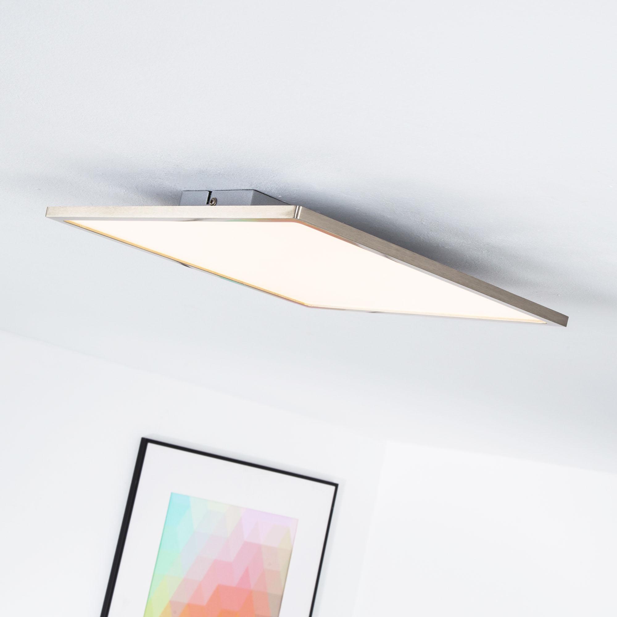 LED Panel für Deckenaufbau dimmbar 35 x 35 cm eckig 1x 20W LED integriert 2000 Lumen 3000K warmweiß Metall Kunststoff eisen