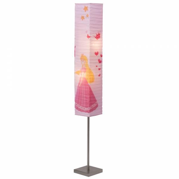 Princess Stehleuchte mit Papierschirm, Höhe 145 cm, 2x E14 max. 40W, Metall / Reispapier, eisen / rosa