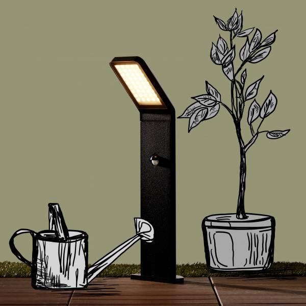 Moderne 9W LED Außensockelleuchte, Wegeleuchte mit Bewegungsmelder, IP 44, 600 Lumen, 3000K warmweiß, Aluminium / Glas, schwarz