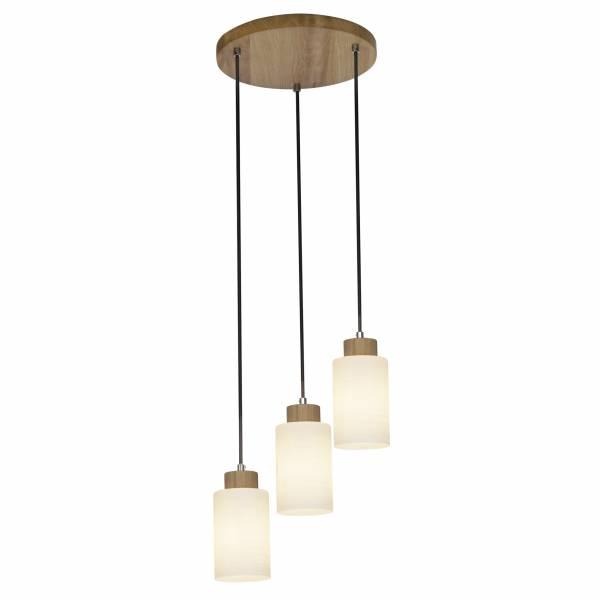 Pendelleuchte, 3-flammig, 3x E27 max. 60W, , Holz / Glas, eiche / weiß