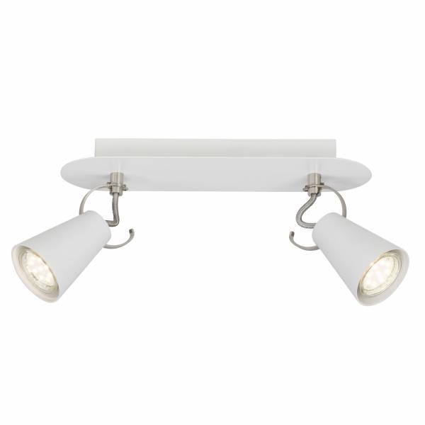 Spotbalken, 2-flammig, 2x GU10 max. 7W, , Metall, weiß / eisen