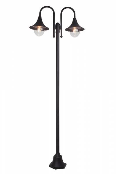 Außenstandleuchte im schlichten Design, H 210 cm, 2x E27 max. 60W, Alu-Druckguss / Kunststoff, schwarz