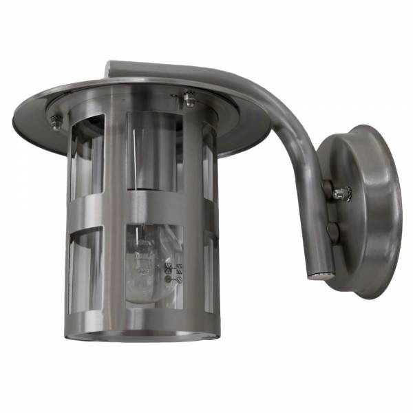 Moderne Außenwandleuchte, hängend, IP23 Regengeschützt, 1x E27 max. 60W, Metall / Glas, edelstahl