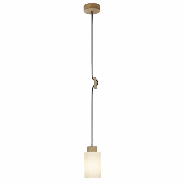 Pendelleuchte, 1-flammig, 1x E27 max. 60W, , Holz / Glas, eiche / weiß