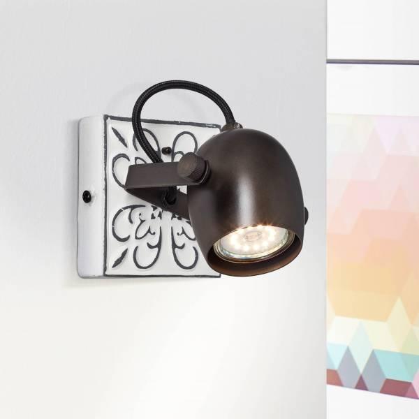 Lightbox Wandstrahler, 1x GU10 max. 6 Watt aus Metall in schwarz stahl / weiß