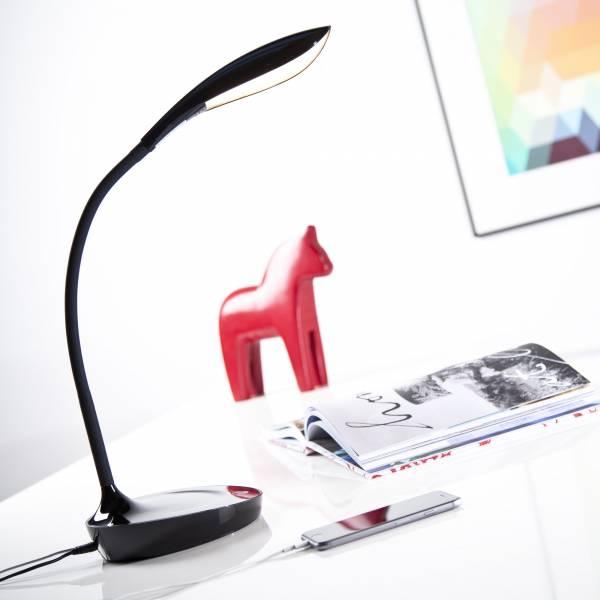 LED 4,5W Schreibtischleuchte mit USB zum Aufladen von Handy oder Tablet, 450 Lumen, 3000K warmweiß , Metall / Kunststoff, schwarz