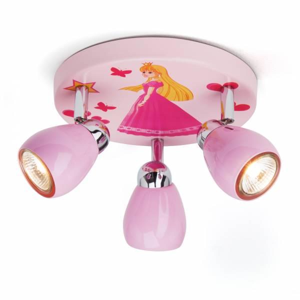 Princess LED Deckenleuchte, Ø 31 cm, 3x 2,5W GU10 LED inkl., 3x 220 Lumen, 3000K warmweiß, Metall, rosa