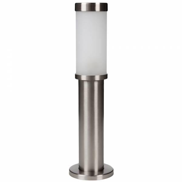 Schlichte Außensockelleuchte, IP44 Spritzwassergeschützt, 1x G9 max. 33W, Metall / Glas, edelstahl