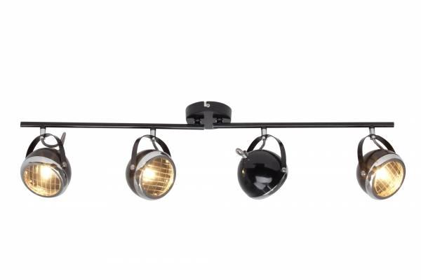 Deckenleuchte im Retro Strahler Design, 4x G9 max. 33W, Metall / Glas, schwarz glanz / chrom