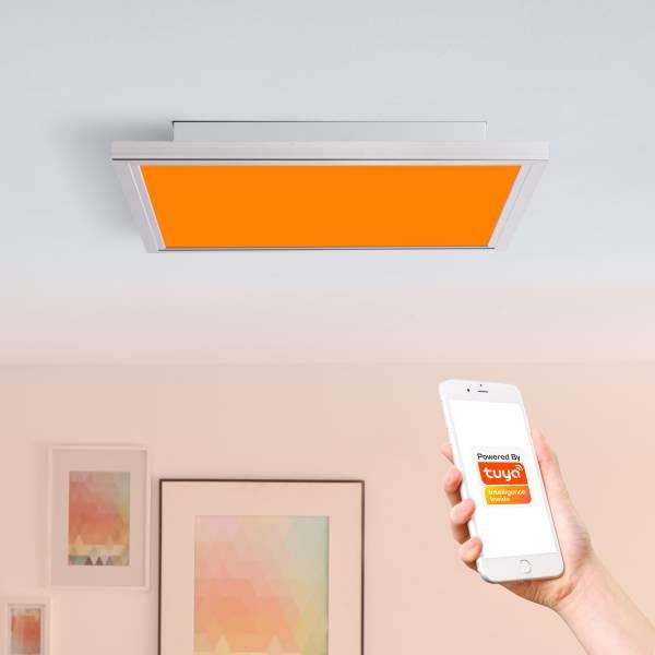 Smarte LED Panel Deckenleuchte per Tuya App steuerbar, mit RGB-Farbwechsellicht, 60x60cm, 40 Watt aus Metall / Kunststoff in nickel