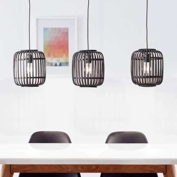 Pendelleuchte, 3-flammig, 3x E27 max. 60W, Metall / Bambus, holz dunkel / schwarz