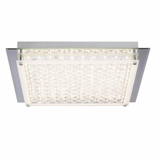 LED Wand- und Deckenleuchte, 1x 20W LED integriert, 1x 2000 Lumen, 3000K, , Glas / Metall, chrom