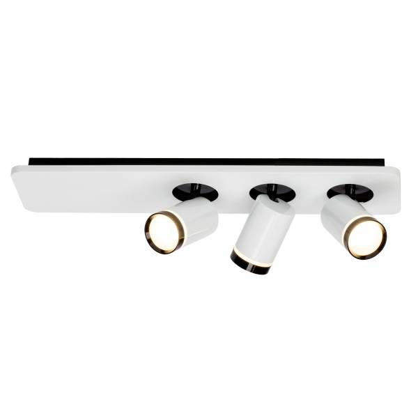 LED Spotbalken, 3-flammig, 3x 5W LED integriert (COB-Chip), 3x 450 Lumen, 3000K, , Metall / Acryl, weiß-glänzend / schwarz