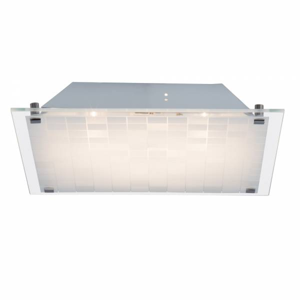 LED Wand- und Deckenleuchte quadratisch 30x30cm-weiß 10W 750lm 3000K warmweiß, Metall / Glas, chrom / weiß