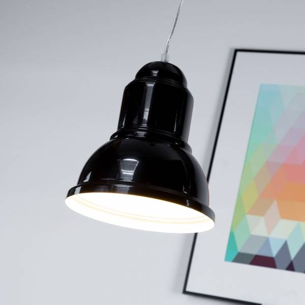 Pendelleuchte Industrie Loft Design Ø 23,5cm, H 100cm, 1x E27 max 60W, Metall, schwarz glanz