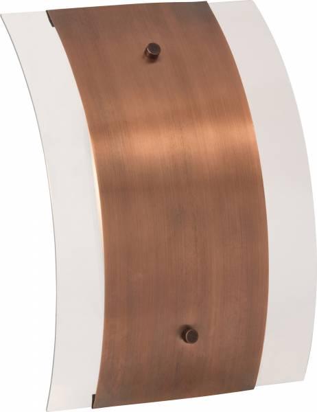 Elegante Wandleuchte aus Kupfer, 1x E27 max. 60W, H 30cm, Metall / Glas, kupfer / transparent