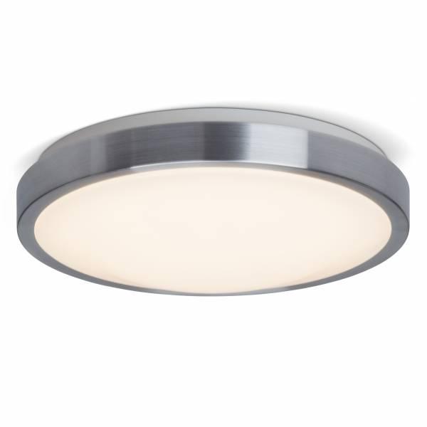 LED Wand- und Deckenleuchte, IP44, ø 33cm, 12 Watt LED integriert, 720 Lumen, 3000K warmweiß, Edelstahl / weiß